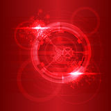 Red particles flowing towards on dark background. Vector illustration. Abstract molecules impact. Connection Structure. Geometric Modern Technology Concept stock illustration