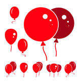 Red Party Balloon Icons Isolated On White Background. Red Simple Party Balloon Icons Isolated On White Background Royalty Free Stock Image