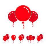 Red Party Balloon Icons Isolated On White Background. Red Simple Party Balloon Icons Isolated On White Background Stock Photo