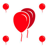 Red Party Balloon Icons Isolated On White Background. Red Simple Party Balloon Icons Isolated On White Background Royalty Free Stock Photography