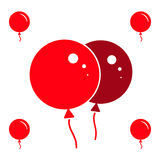 Red Party Balloon Icons Isolated On White Background. Red Simple Party Balloon Icons Isolated On White Background Stock Images