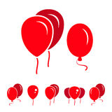 Red Party Balloon Icons Isolated On White Background. Red Simple Party Balloon Icons Isolated On White Background Royalty Free Stock Photo