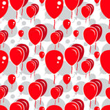 Red Party Balloon Pattern on White Background Stock Photos