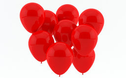 Red party balloons. Group of red party balloons isolated on a white background Stock Photos
