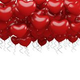 Red party balloons in heart shape isolated on white background. 3d render Royalty Free Stock Photos