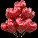 Red party balloons love heart shaped happy birthday event Royalty Free Stock Photo