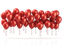 Red party balloons row. Isolated on white background Royalty Free Stock Image