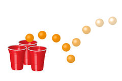 Red party cup with ping pong ball, isolated on white background.  Stock Image