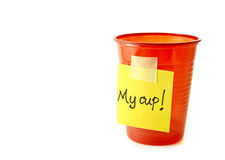 Red party cup with a sign Stock Image