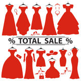 Red party dresses Silhouette.Fashion sale Royalty Free Stock Image