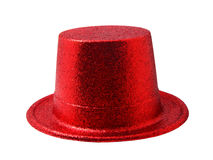 Red party hat isolated on white clipping path. Royalty Free Stock Photos