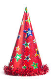 Red party hat. Shiny party hat on white background stock photos