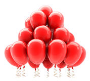 Red party helium balloons. 3D Stock Photo