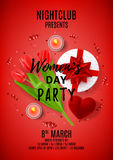 Red party poster for Women`s Day Stock Photography