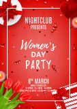 Red party poster for Women`s Day Royalty Free Stock Photos