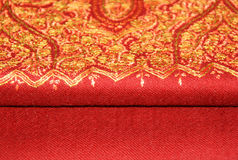 Red pashmina shawl with embroidery Royalty Free Stock Image