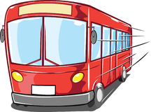 Red passenger bus. Cartoon illustration of red passenger or tour bus, white background Stock Images