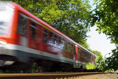 Red passenger train Royalty Free Stock Images