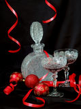 Red passion. Glass and red christmas decorations Stock Photos