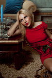 Red Passion blonde woman. Stock Photos