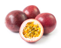 Red passion fruit on white background, fruit for healthy concept. Red passion fruit on white background Royalty Free Stock Image