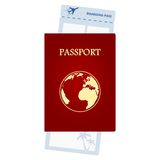 Red passport and airline ticket Royalty Free Stock Photography
