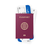 Red passport and boarding pass tickets. Realistic design. Vector illustration. Royalty Free Stock Image