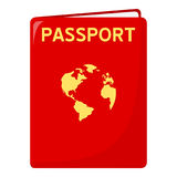 Red Passport Flat Icon Isolated on White Royalty Free Stock Photography