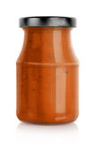Red pasta sauce jar Stock Photo