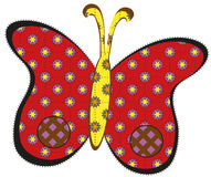 Red patchwork butterfly Royalty Free Stock Image