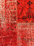 Red patchwork rug. Vintage style red patchwork rug with ethnic design royalty free stock photography