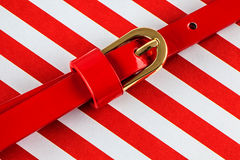 Red patent leather belt Stock Image