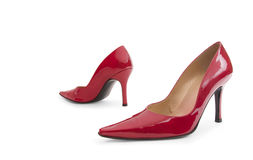 Red Patent Leather High Heels Stock Photo