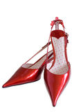 Red patent-leather shoes. On a white background Stock Images