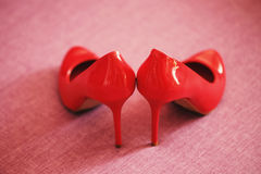 Red patent shoes Royalty Free Stock Images