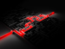Red path across labyrinth. Isolated on black Royalty Free Stock Photos