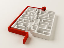 Solved Maze puzzle Stock Photo