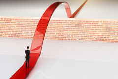 Red path and brick wall. Red path overcoming brick wall. 3D Rendering stock illustration
