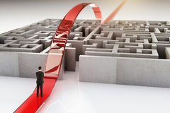 Red path and businessman. Red path with businessman going over complicated concrete maze. 3D Rendering Stock Photo