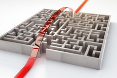 Red path going over maze Stock Images