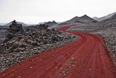 Red path Iceland Royalty Free Stock Image