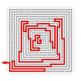 Red path from labyrinth. Right way. Stock Photo