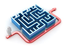 Red path with man and maze. This is a 3d rendered computer generated image. Isolated on white stock illustration