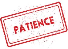 Red PATIENCE rubber stamp Stock Photo