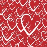 Seamless hearts background. hearts for Valentine`s day, vector illustration. red pattern background with hand drawn elements. Red pattern background with hand royalty free illustration