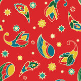 Red pattern with cartoon elements. Stock Photo