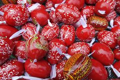 Red Pattern Easter Eggs Background stock photos