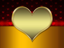Red pattern with gold heart Stock Photo