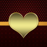 Red pattern with gold heart Stock Photos