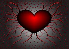 Red pattern with hearts 5. Red and black vegetative pattern with hearts on gradient background Royalty Free Stock Photos